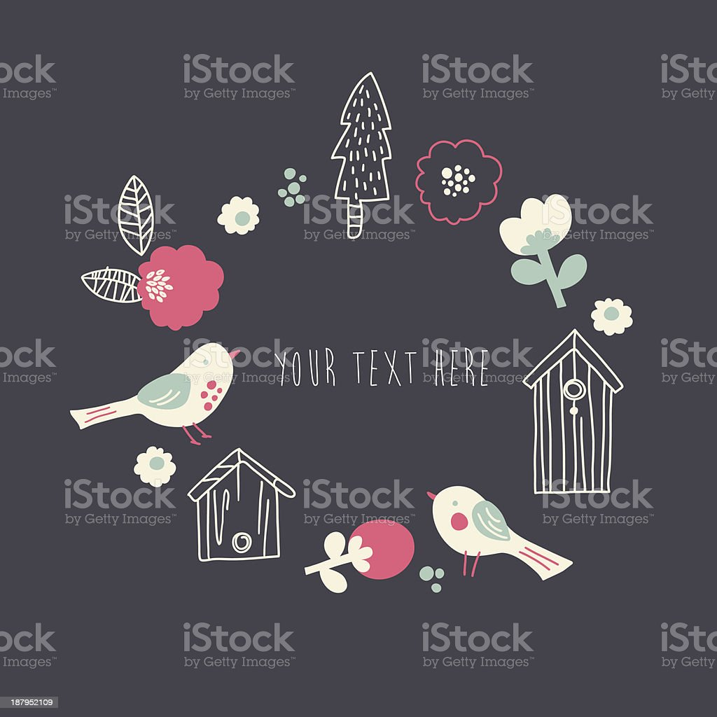 Cute cartoon birds and floral elements royalty-free stock vector art