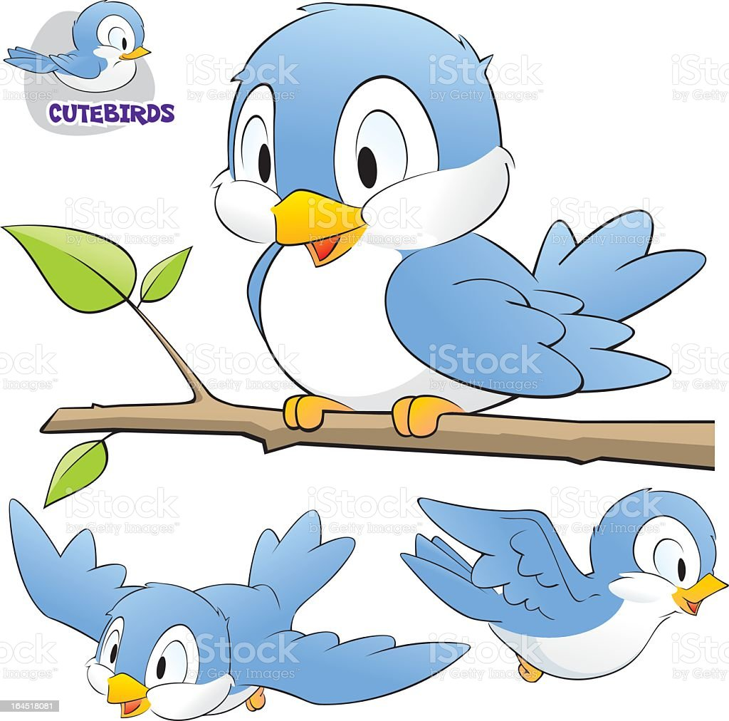 Cute Cartoon Birds royalty-free stock vector art
