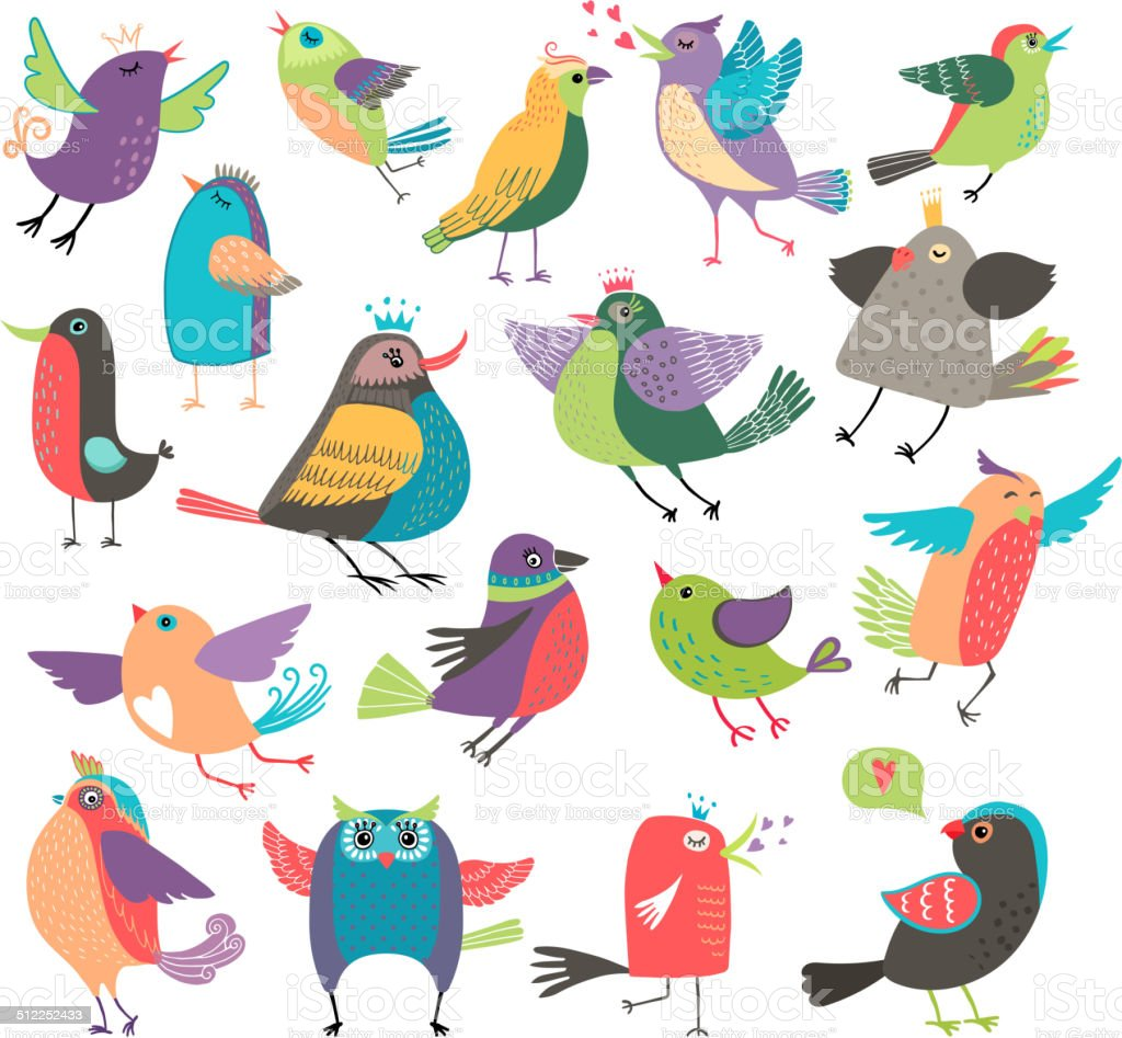 Cute cartoon birds vector art illustration