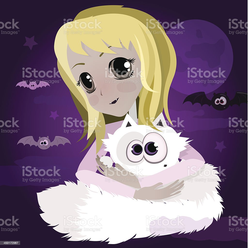 Cute cartoon blond anime girl with white cat royalty-free stock vector art