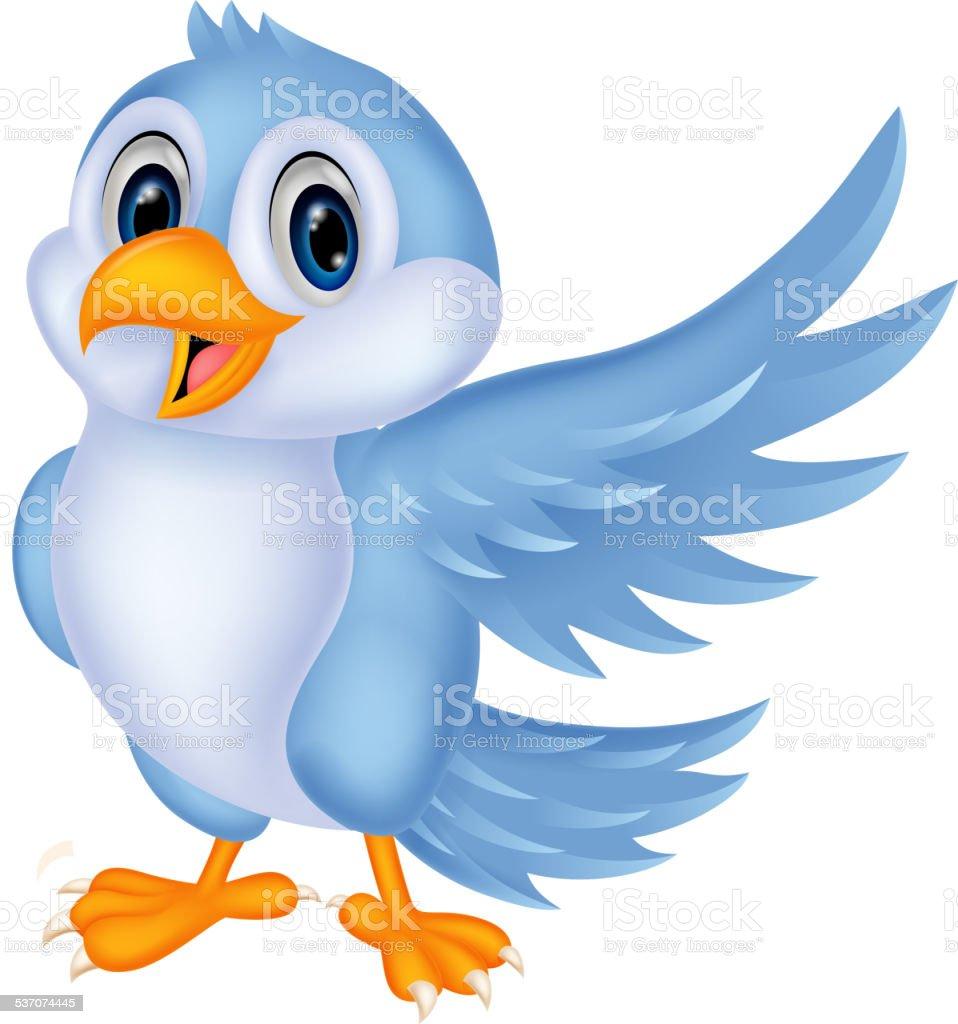 Cute cartoon blue bird waving vector art illustration