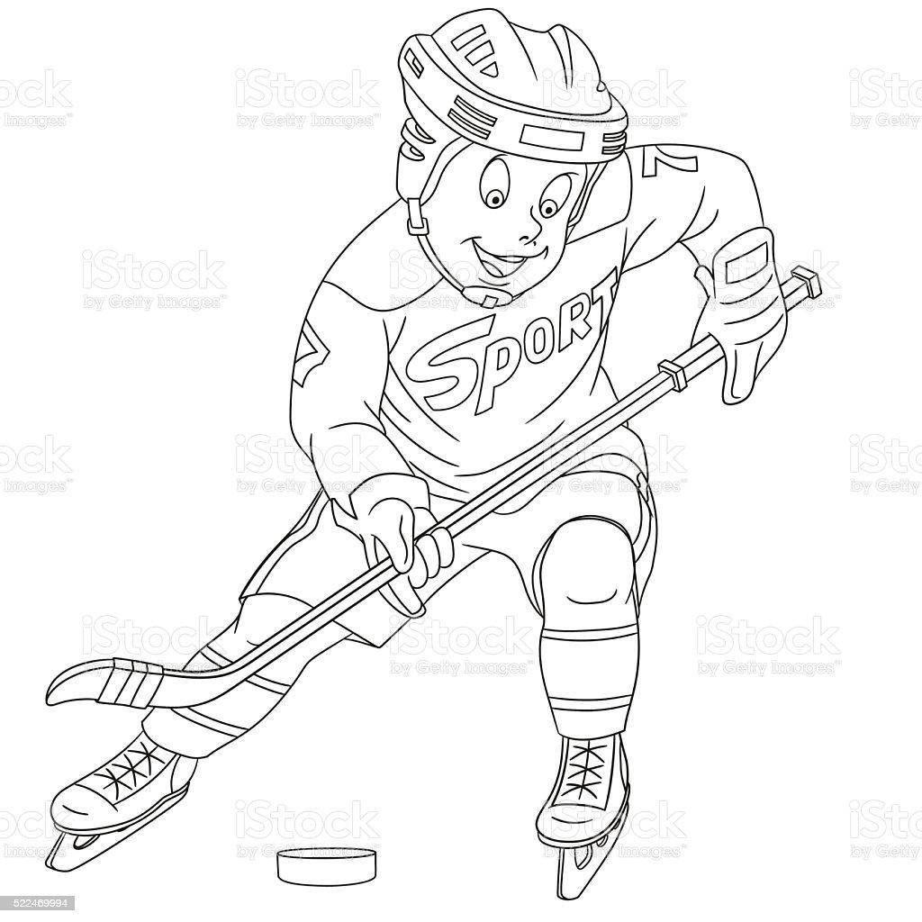 Joli gar on en dessin anim joueur de hockey sur stock vecteur libres de droits 522469994 istock - Dessin hockey sur glace ...