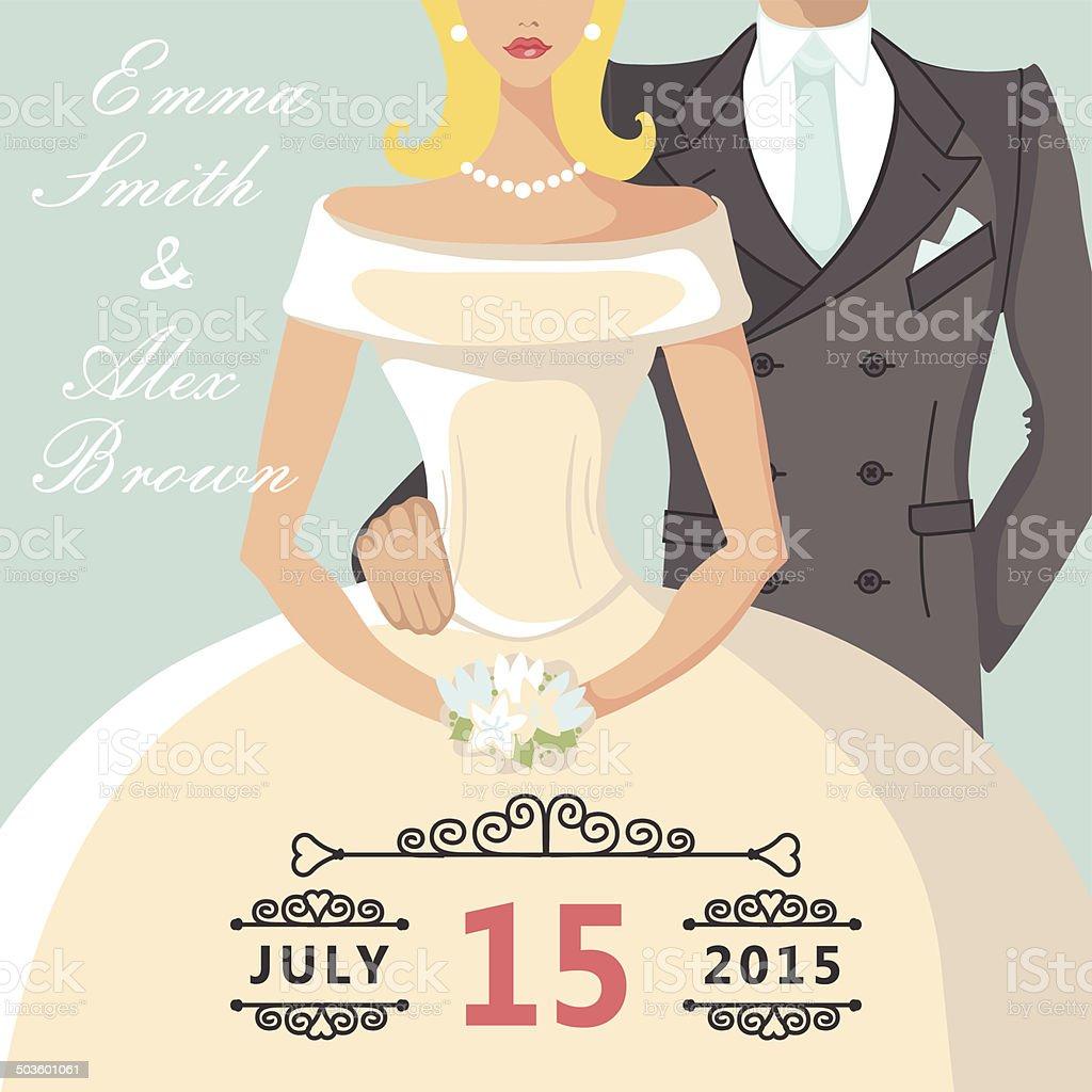 Niedliche Comic Braut Und Groom.Retro Hochzeit Einladung Lizenzfreies  Vektor Illustration