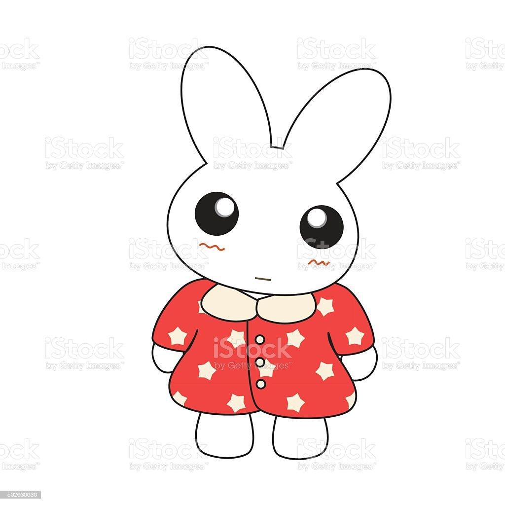 Cute cartoon bunny girl in a pretty pink dress. vector art illustration