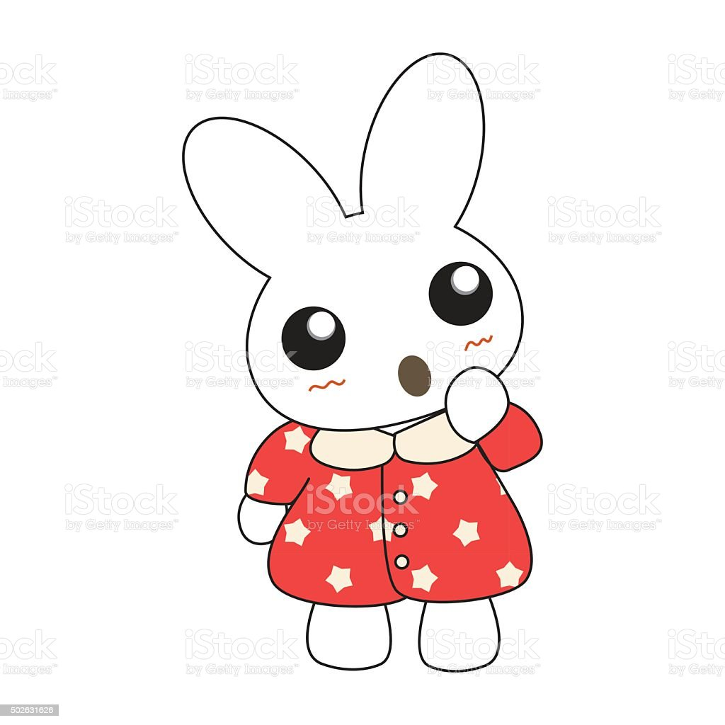Cute cartoon bunny girl in a pretty pink dress. vector art illustration
