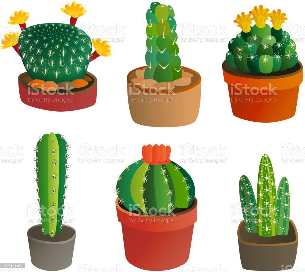 Cute cartoon cactus plant vector art illustration