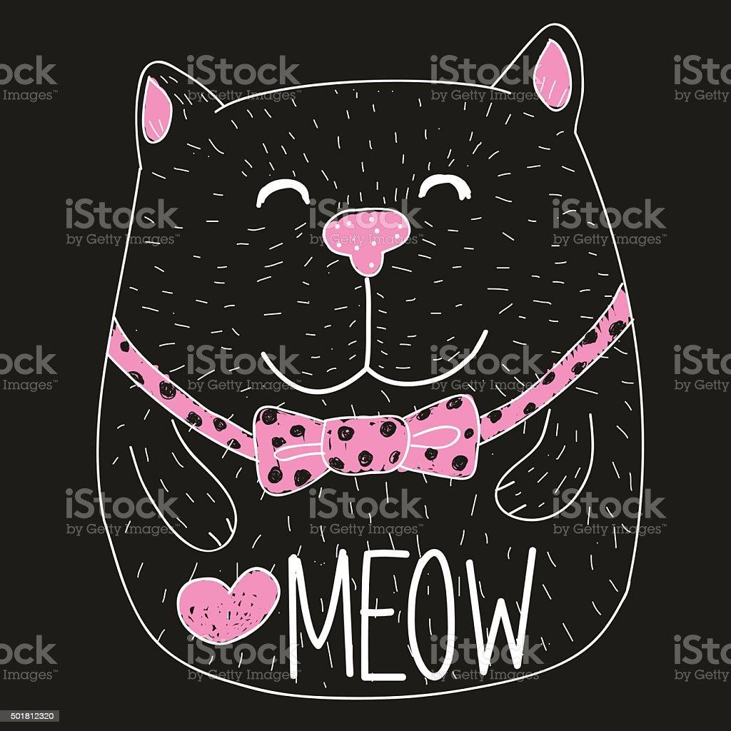 Cute Cartoon Cat vector art illustration