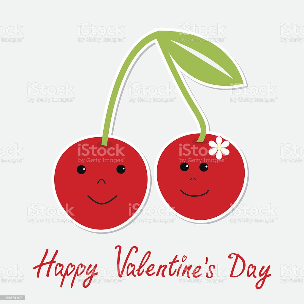 Cute cartoon cherries with happy faces. Valentines Day royalty-free stock vector art