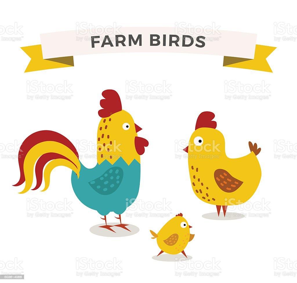 Cute cartoon chicken mother and chuk kid vector illustration vector art illustration