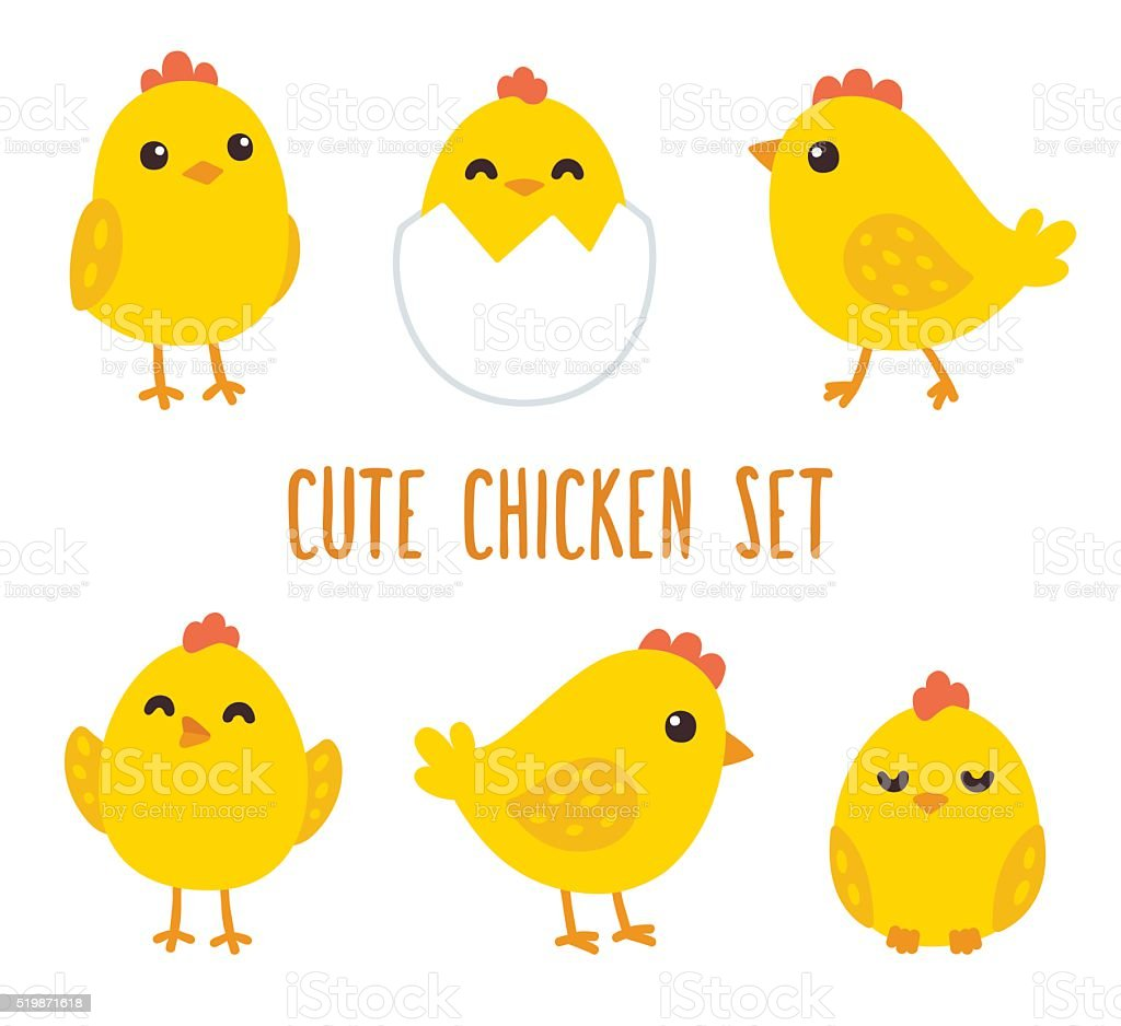 Cute cartoon chicken set vector art illustration