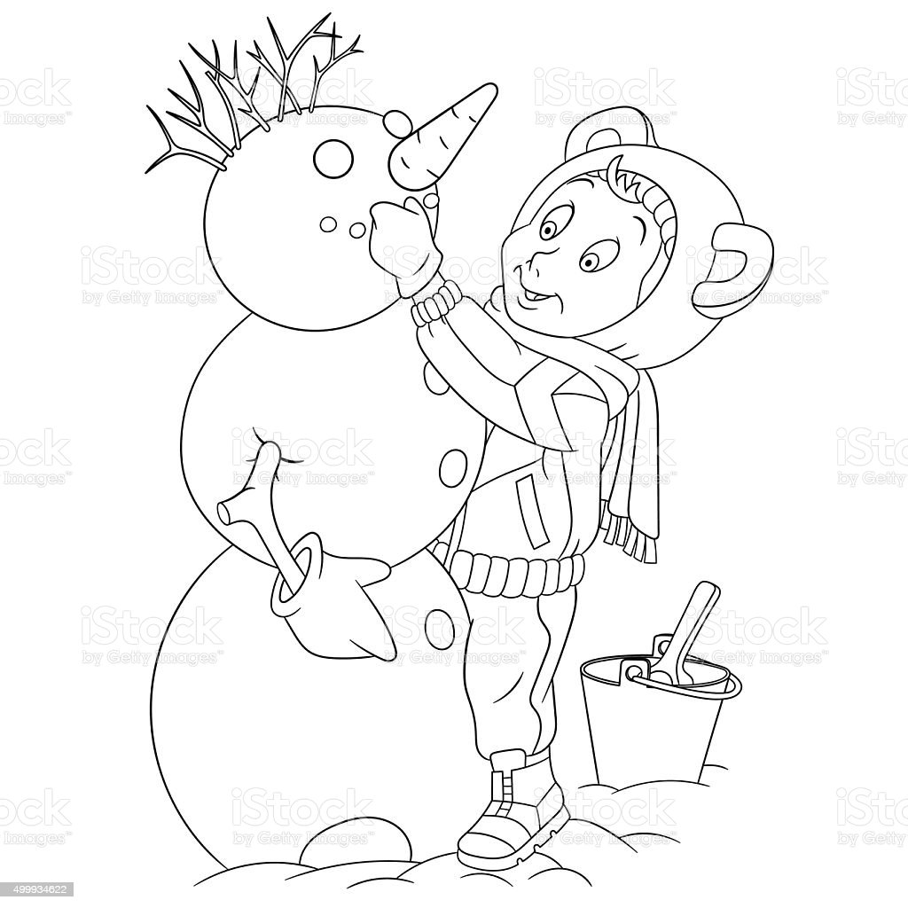 cute cartoon child and a snowman vector art illustration