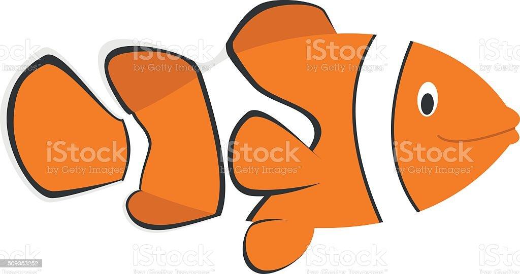 Cute cartoon clownfish vector illustration vector art illustration