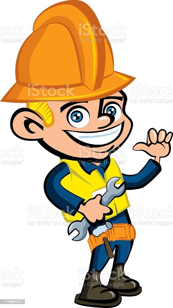 Bauarbeiter bei der arbeit comic  Niedliche Comic Bauarbeiter Vektor Illustration 119864372 | iStock