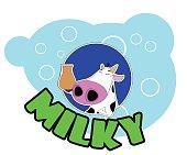 Cute cartoon cow badge