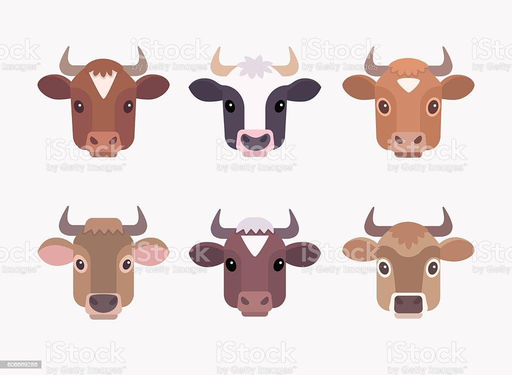 Cute cartoon cows faces vector art illustration