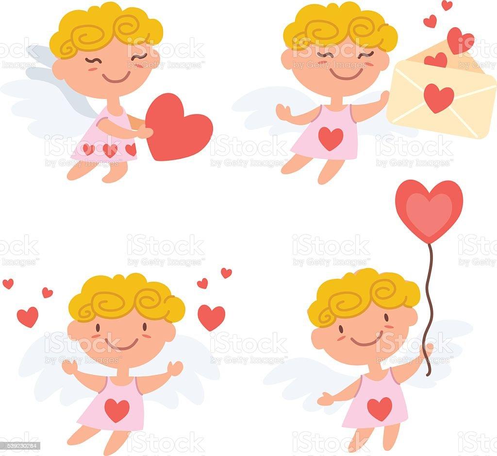 cute cartoon cupids vector art illustration