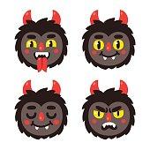 Cute cartoon demon faces