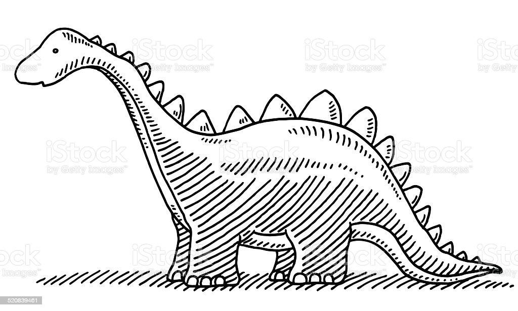 Cute Cartoon Dinosaur Drawing vector art illustration