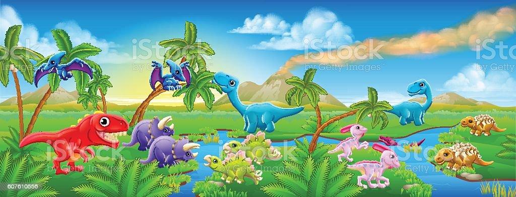 Cute Cartoon Dinosaur Scene Landscape vector art illustration