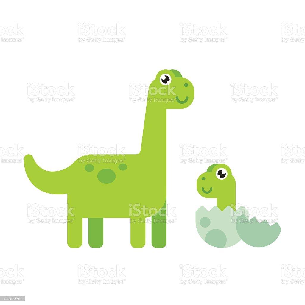Cute Cartoon Dinosaurs vector art illustration