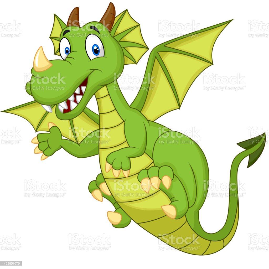 Cute cartoon dragon vector art illustration