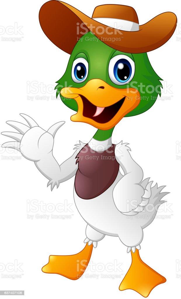 Cute cartoon duck waving hand with a hat vector art illustration