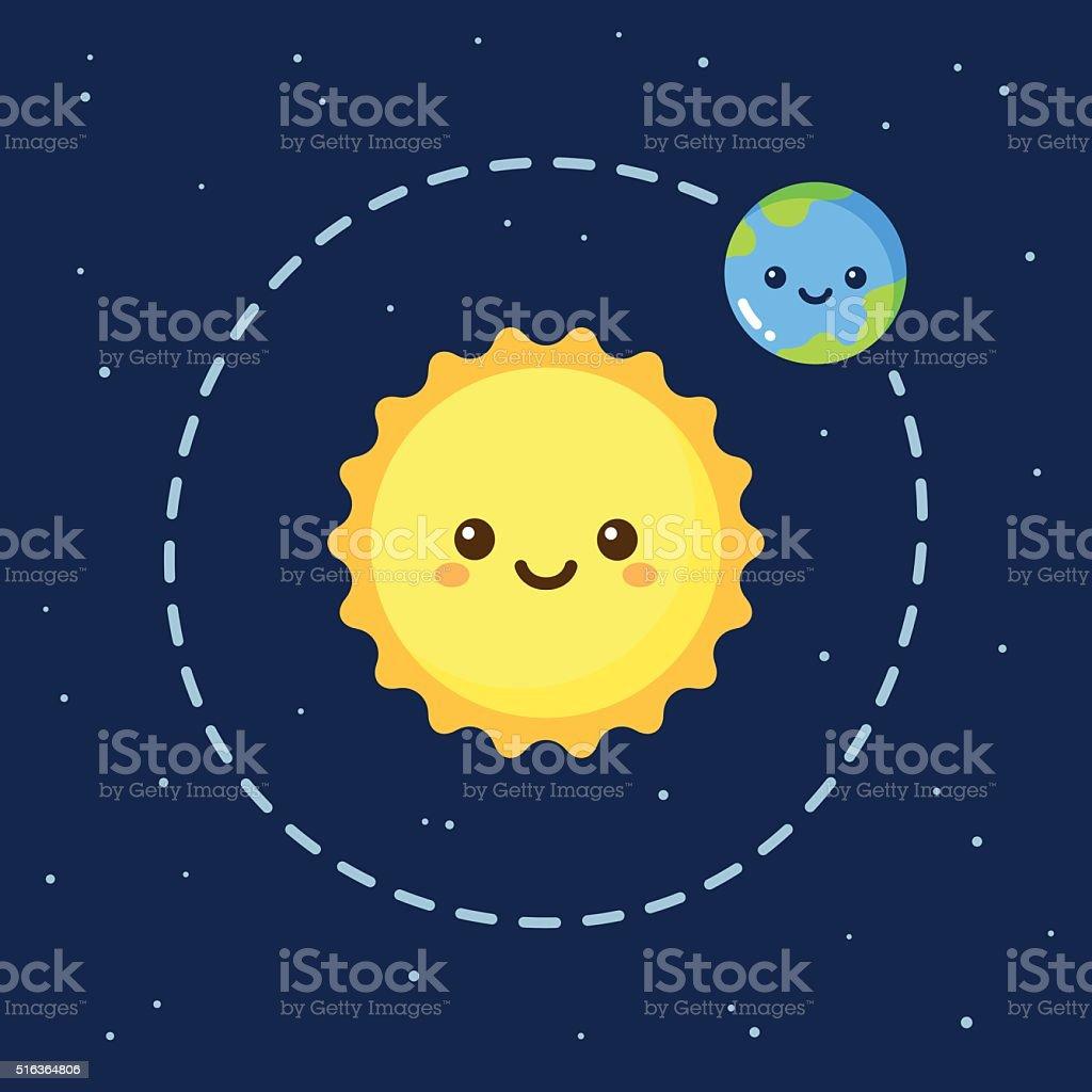 Cute cartoon Earth and Sun vector art illustration