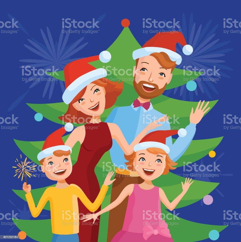 Cute cartoon family celebrates the new year vector art illustration