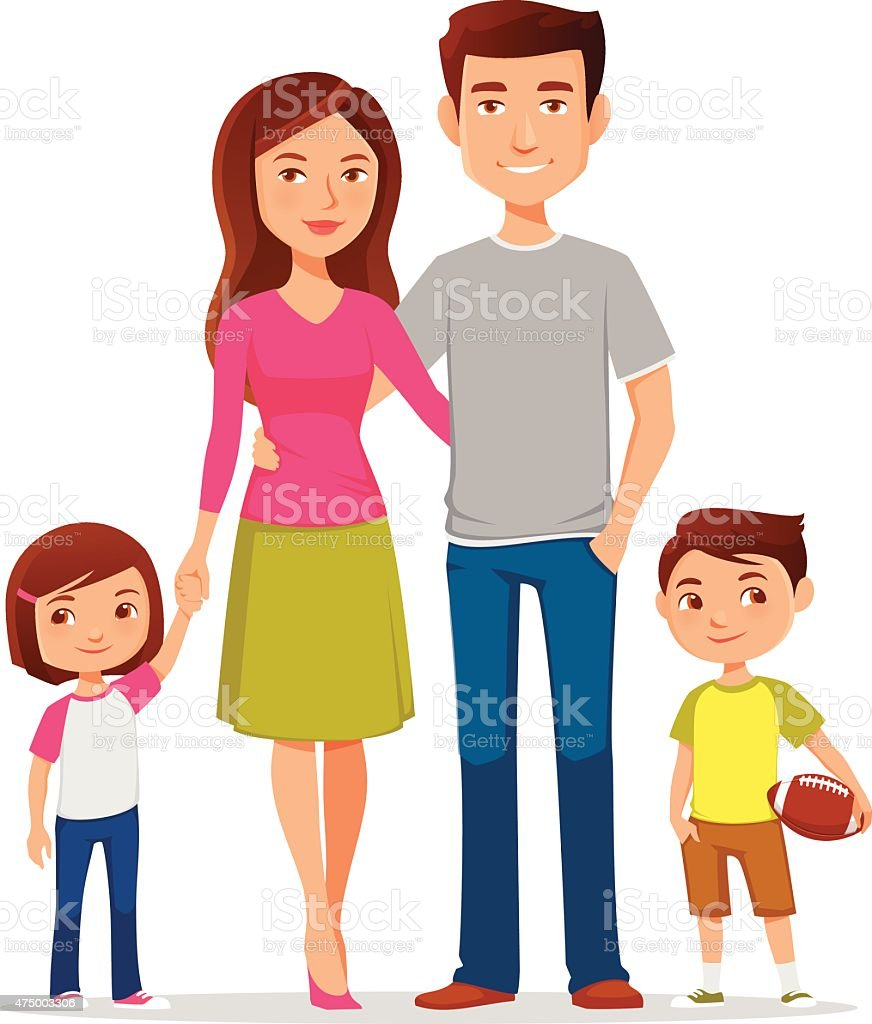 cute cartoon family in colorful casual clothes vector art illustration