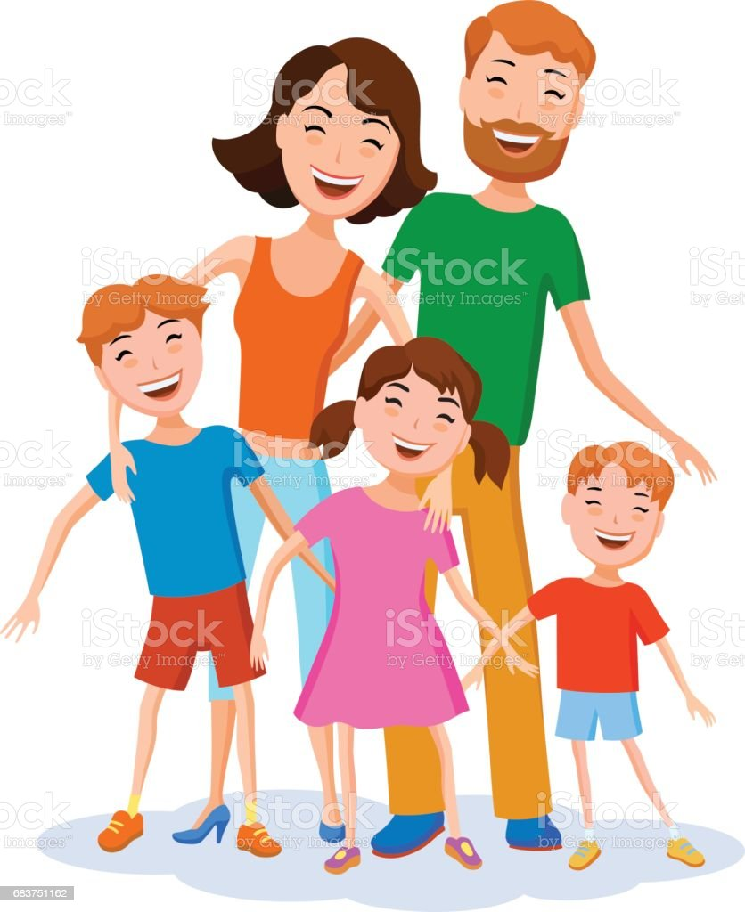 Cute cartoon family in colorful stylish clothes vector art illustration