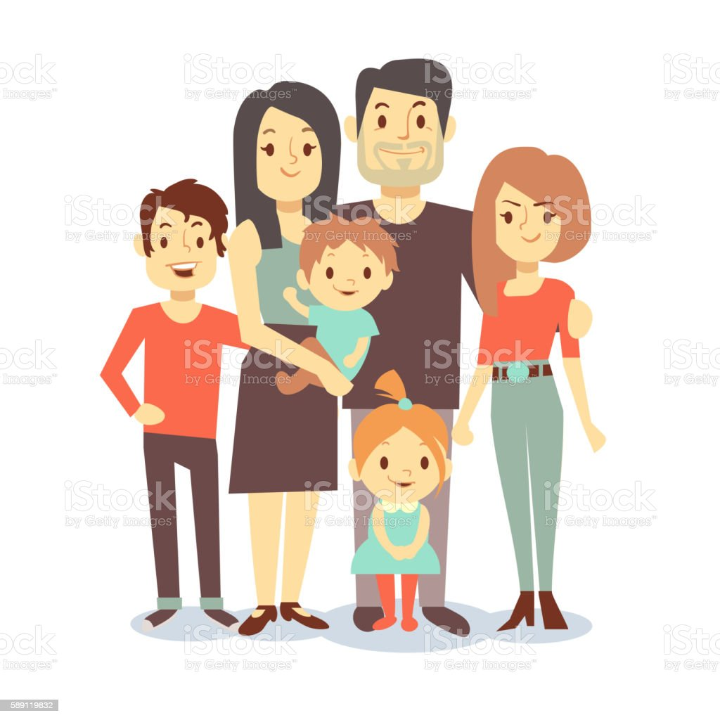 Cute cartoon family vector characters in casual clothes vector art illustration