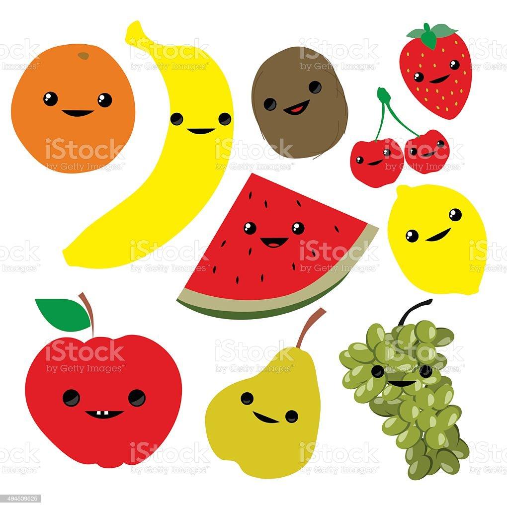 Mignon dessin de fruits stock vecteur libres de droits libre de droits