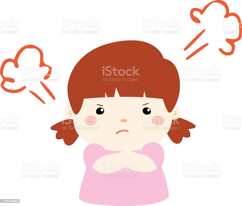 cute cartoon frustrated girl character vector vector art illustration