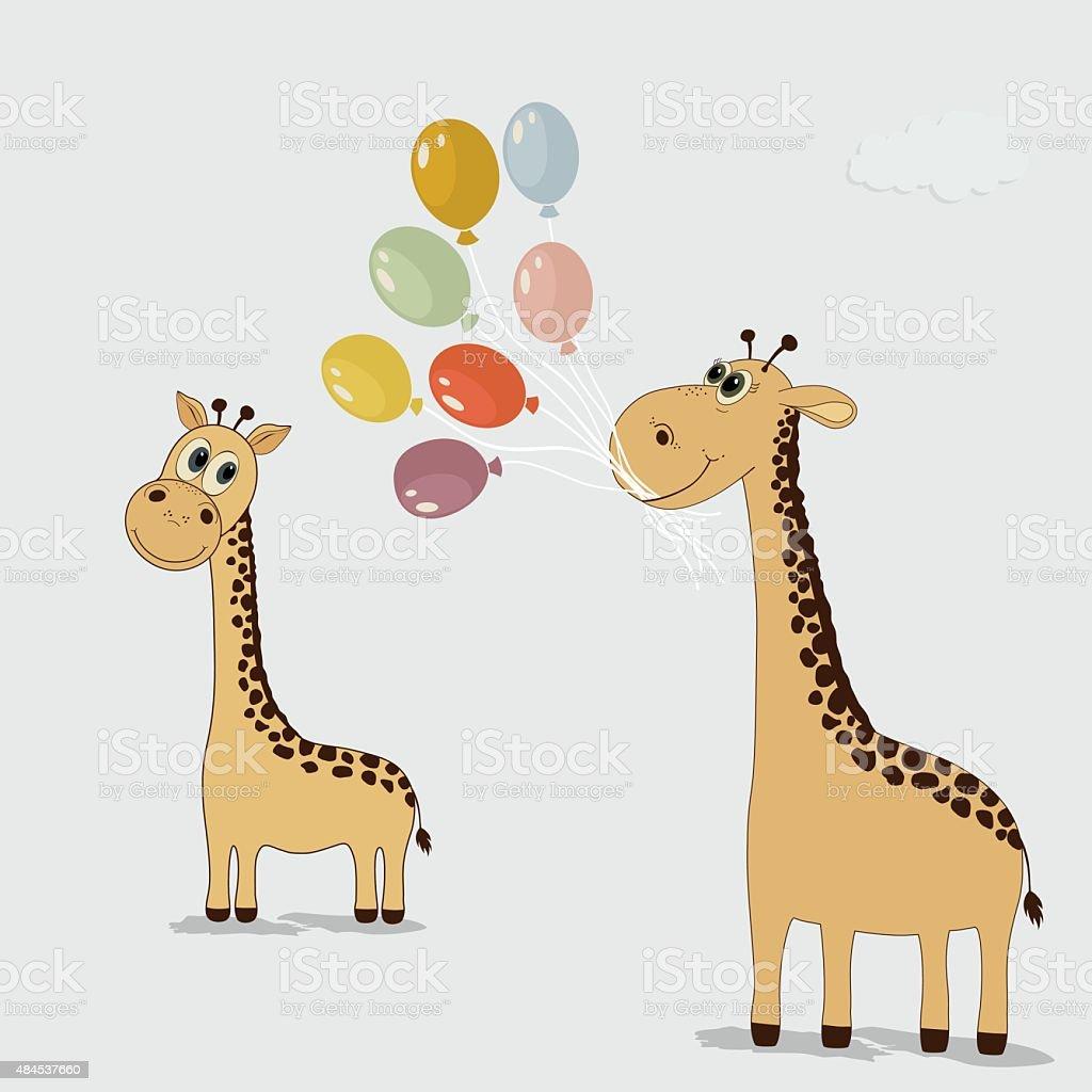cute cartoon giraffes with colorful balloons stock vector art
