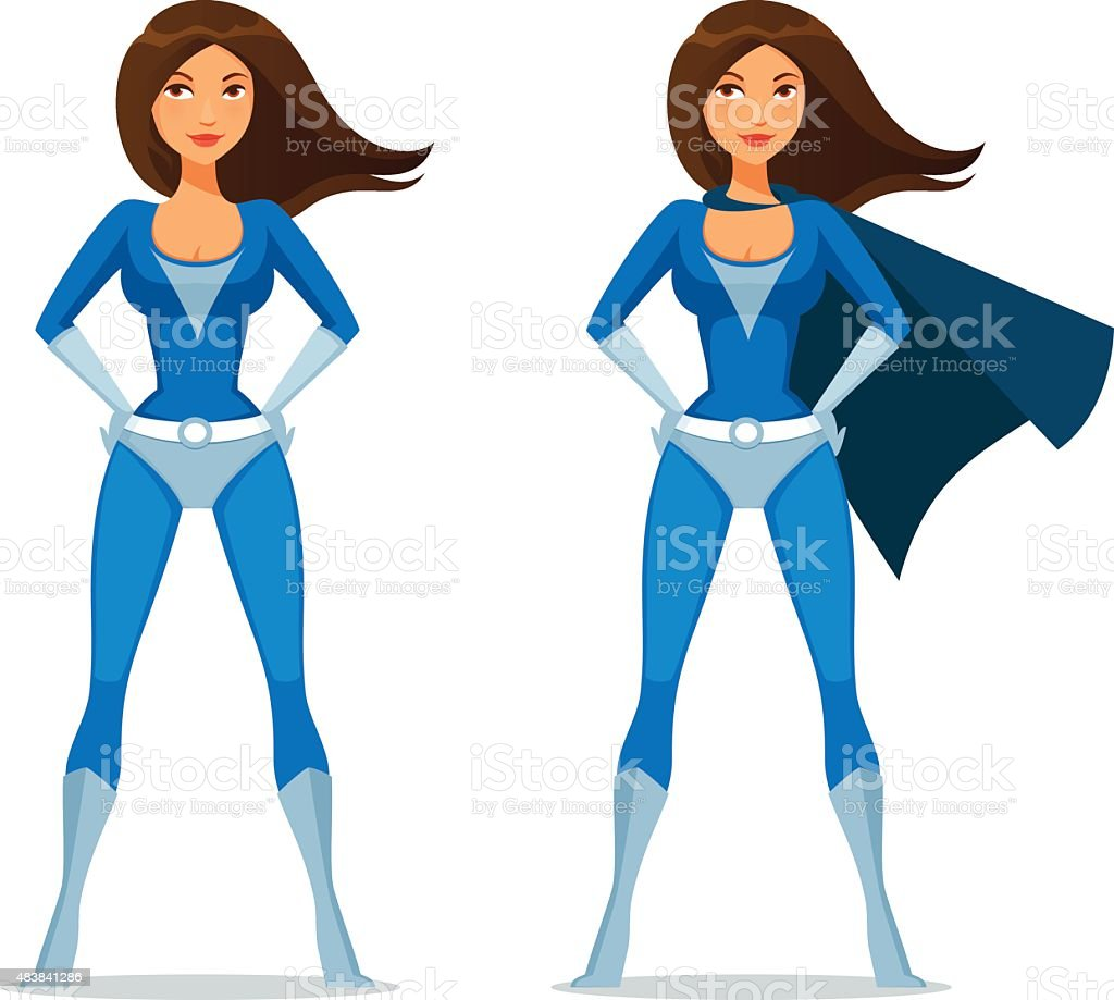 cute cartoon girl in superhero costume vector art illustration