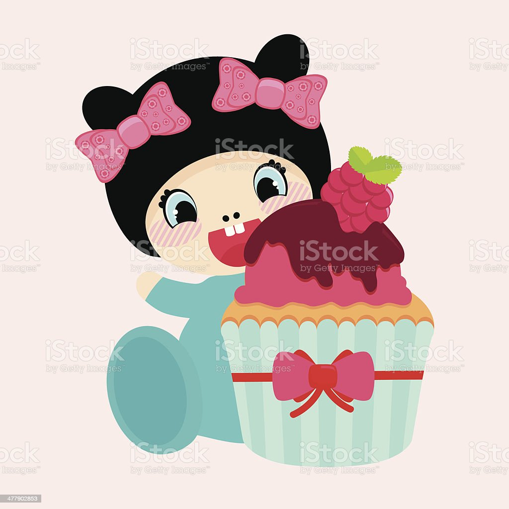 Cute cartoon girl with cupcake royalty-free stock vector art