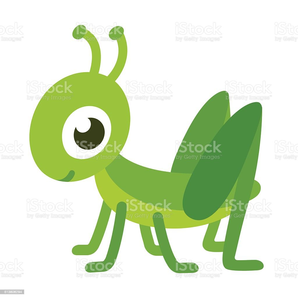 Cute cartoon grasshopper vector art illustration