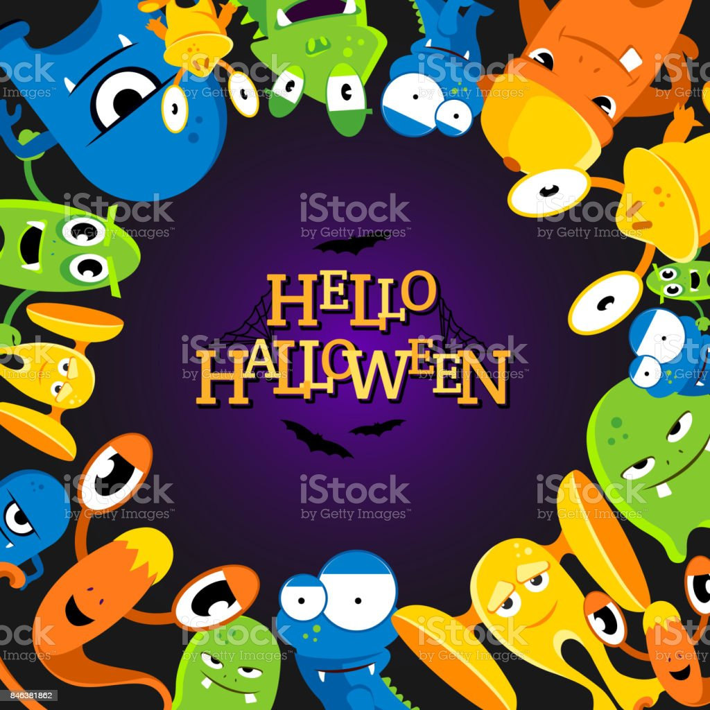 Cute cartoon halloween background with funny monsters. Vector illustration vector art illustration