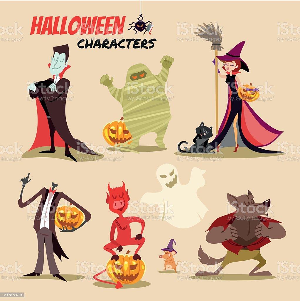 Cute cartoon halloween characters icon set. vector art illustration