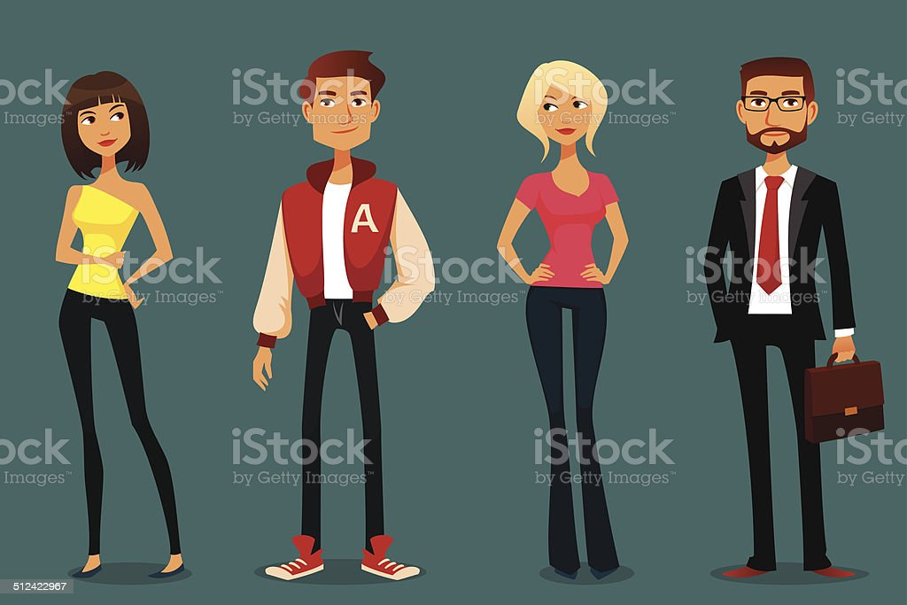 cute cartoon illustration of people in various outfits vector art illustration