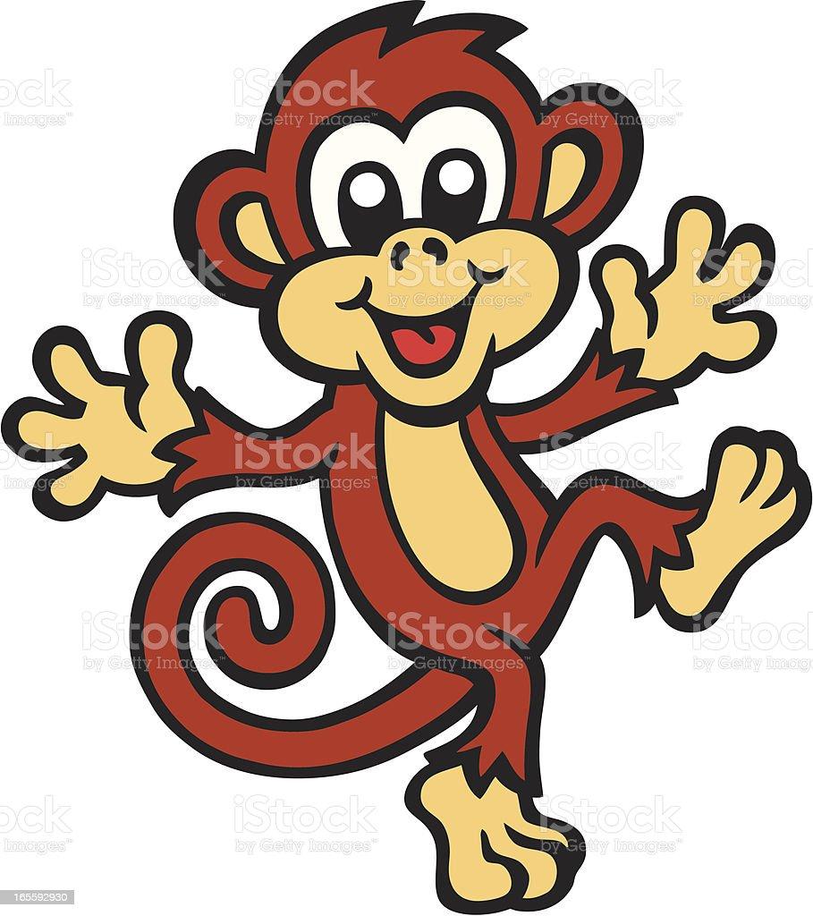 Cute cartoon image of a monkey dancing vector art illustration