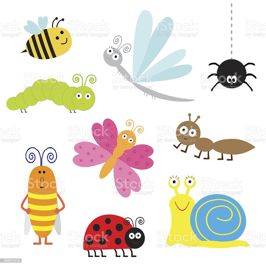 Cute cartoon insect set. Ladybug, dragonfly, butterfly, caterpillar, ant, spider vector art illustration