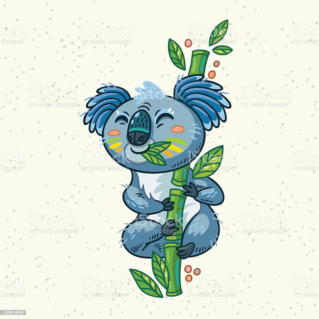 Cute cartoon koala on a tree. Vector illustration vector art illustration