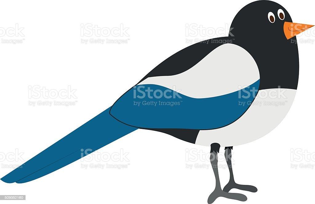Cute cartoon magpie vector illustration vector art illustration