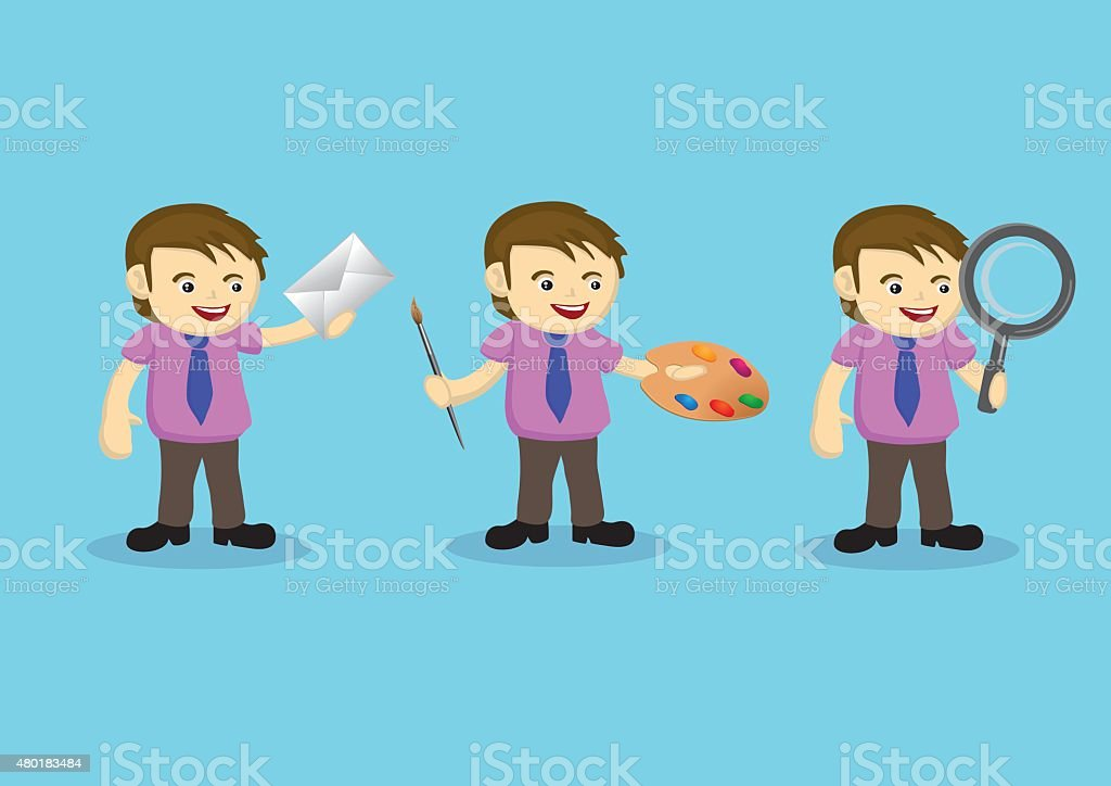 Vector illustration of a cartoon man holding different tools in...