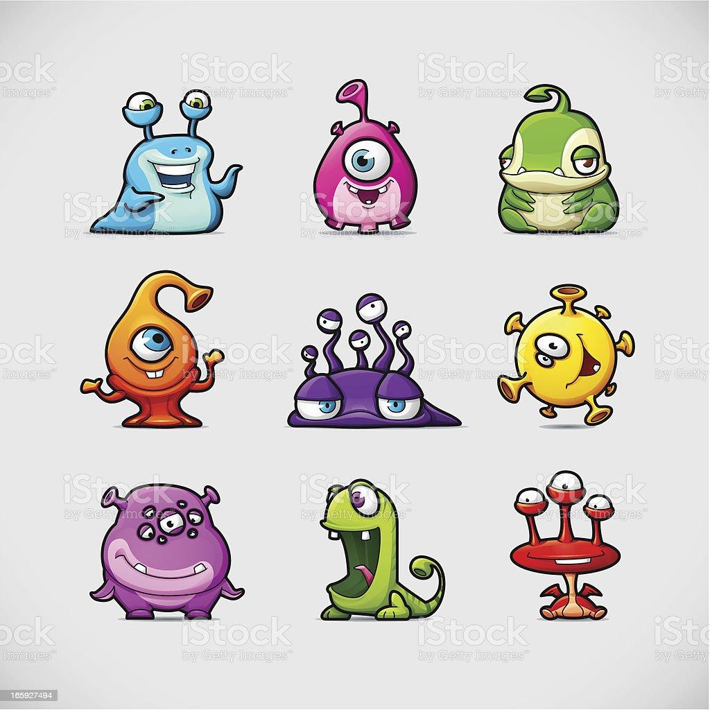 Cute Cartoon Monsters vector art illustration