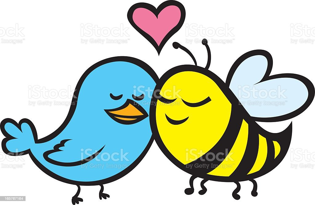 Cute cartoon of blue bird and yellow bee in love royalty-free stock vector art