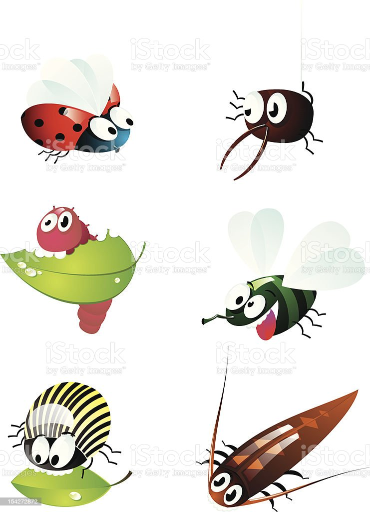 Cute cartoon of many bugs royalty-free stock vector art