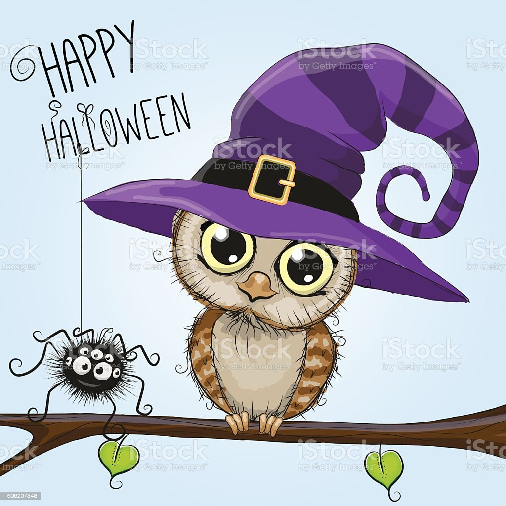 Cute cartoon owl in a witch hat vector art illustration