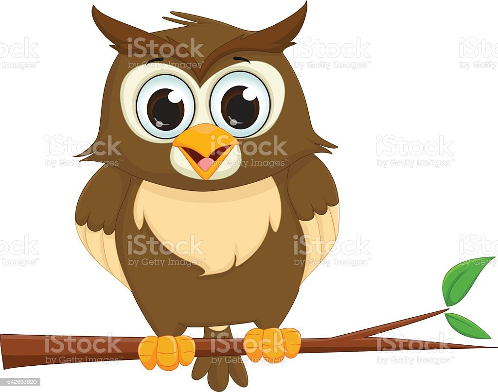 cute cartoon owl sitting on a tree branch vector art illustration